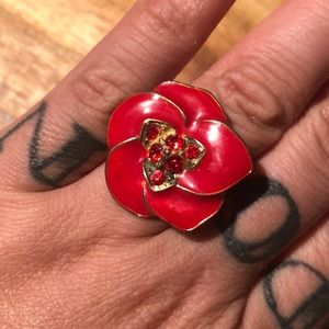 Jewelry - red flower poinsettia ring